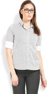 Max Casual 3/4 Sleeve Printed Women's Black Top