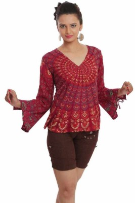 Indi Bargain Party, Formal Full Sleeve Floral Print Womens Maroon Top