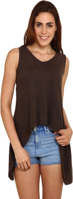 Miss Chick Lounge Wear Sleeveless Solid Women's Brown Top