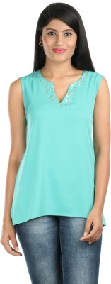 Zoe Fashions Formal Sleeveless Embroidered Women's Light Green Top