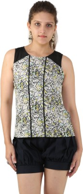 Unicolr Casual Sleeveless Floral Print Women's Multicolor Top