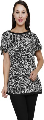 Rumara Casual Short Sleeve Geometric Print Women's Black Top