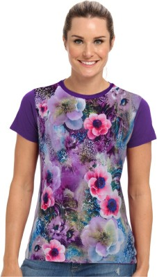 Stylemyway Casual Short Sleeve Printed Women's Purple Top