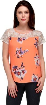 Motif Casual Short Sleeve Floral Print Women's Multicolor Top