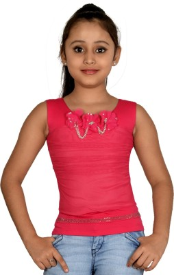 ABHIRA Casual Sleeveless Embellished Girl's Pink Top