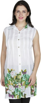 Old Tailor Casual Sleeveless Printed Women's White Top