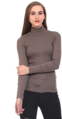 Claude 9 Casual Full Sleeve Solid Girl's Brown Top