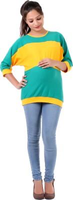 Hugo Chavez Formal Short Sleeve Solid Women's Yellow, Light Green Top