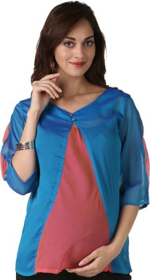 Morph Maternity Casual 3/4 Sleeve Solid Women's Multicolor Top
