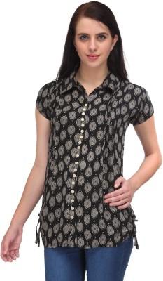 Vestire Casual Cape Sleeve Printed Women's Black Top