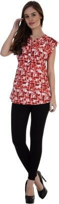 Antilia Femme Casual Short Sleeve Printed Women's Red Top