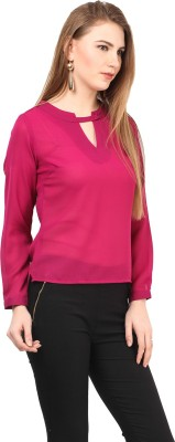 AT BY TARUNA Casual Full Sleeve Solid Women's Pink Top