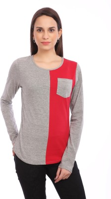 Legona Casual Full Sleeve Solid Women's Red, Grey Top