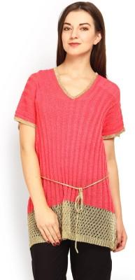 Tokyo Talkies Casual Short Sleeve Solid Women's Pink Top