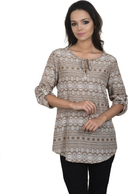 Antilia Femme Casual 3/4 Sleeve Printed Women's White, Brown Top