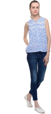 A Luv Ya Casual Sleeveless Floral Print Women's Blue, White Top