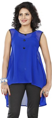 Twinkal Casual, Lounge Wear, Party Sleeveless Solid, Self Design Women's Blue Top