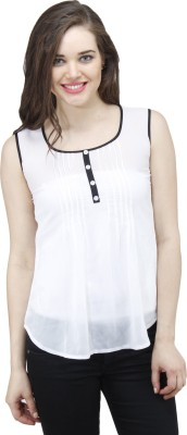 Osumfab Casual Sleeveless Solid Women's White Top
