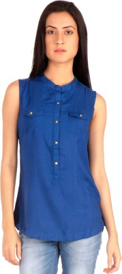 Bombay High Casual Sleeveless Solid Women's Blue Top