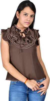 Palette Casual Sleeveless Solid Women's Brown Top