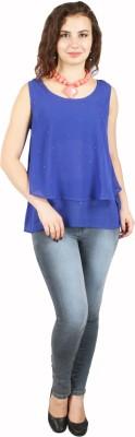 FASHIONHOLIC Casual Sleeveless Self Design Women's Blue Top