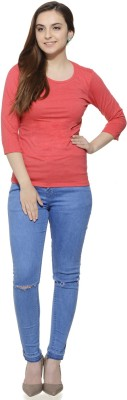 Fugue Casual 3/4 Sleeve Solid Women's Red Top