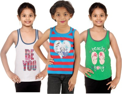Menthol Casual Sleeveless Printed, Striped, Printed Girl's White, Blue, Grey Top