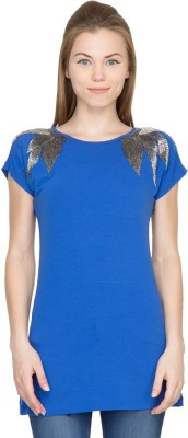 Species Party Short Sleeve Embellished Women's Blue Top