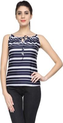 Niriksha Casual Sleeveless Striped Women's Black, White Top