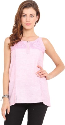 Paprika Casual Sleeveless Embroidered Women,s Pink Top