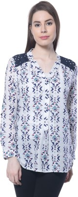 Florrie Fusion Casual Full Sleeve Printed Women's Blue Top