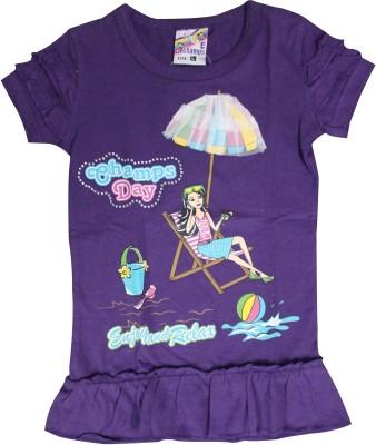Mankoose Casual Short Sleeve Printed Girl's Purple Top