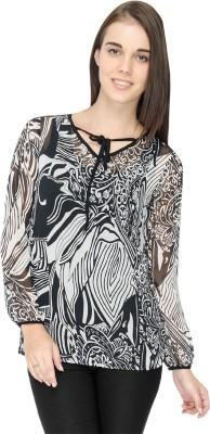 IDENTITI Casual Full Sleeve Printed Women's Black Top