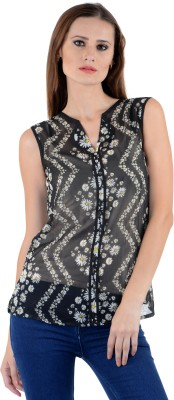 The Clove Party Sleeveless Floral Print Women's Black Top