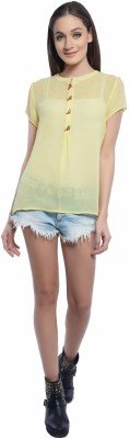 Florrie Fusion Casual Short Sleeve Solid Women's Yellow Top