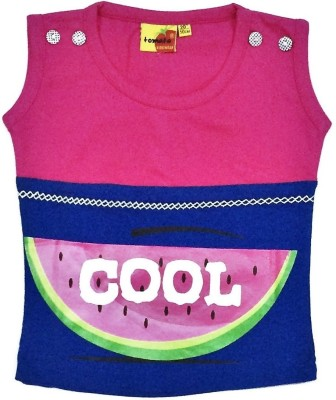 Tomato Casual Sleeveless Printed Girl's Pink, Blue Top
