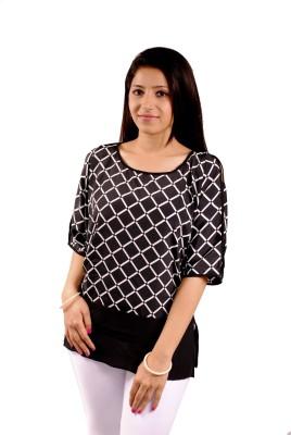 Natty India Casual Kimono Sleeve Checkered Women's White, Black Top