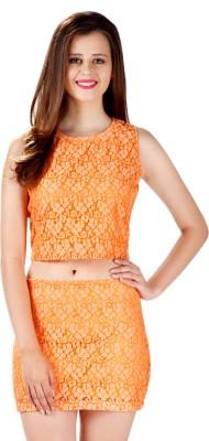 Miss Chase Party Sleeveless Self Design Women's Orange Top