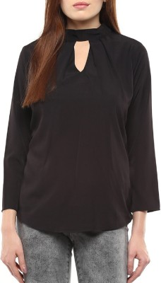 Indicot Casual Full Sleeve Solid Women's Black Top