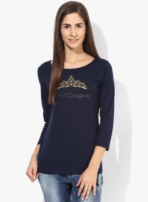 T-shirt Company Casual 3/4 Sleeve Graphic Print Women's Dark Blue Top