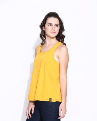 Cult Fiction Casual Sleeveless Solid Women's Yellow Top