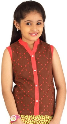 Ventra Casual Sleeveless Embellished Girl's Brown Top