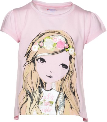 Pepito Casual Short Sleeve Printed Girl's Pink Top