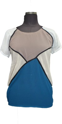 V.K TRADERS Casual Short Sleeve Solid Women's Blue Top