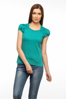 Cation Casual Short Sleeve Solid Women's Green Top at flipkart