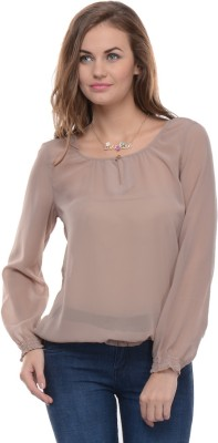 Moderno Casual Full Sleeve Solid Women's Brown Top