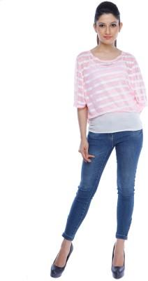 Designeez Casual Short Sleeve Striped Women's Pink Top