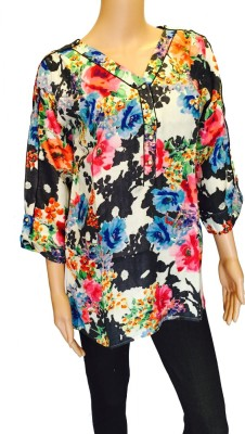 FASIION Casual 3/4 Sleeve Floral Print Women's Multicolor Top