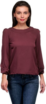 Zachi Casual Full Sleeve Solid Women's Maroon Top