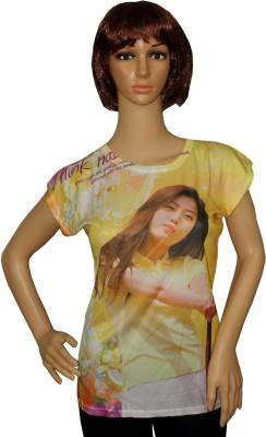 Sarva Casual, Party Short Sleeve Printed Women's Multicolor Top
